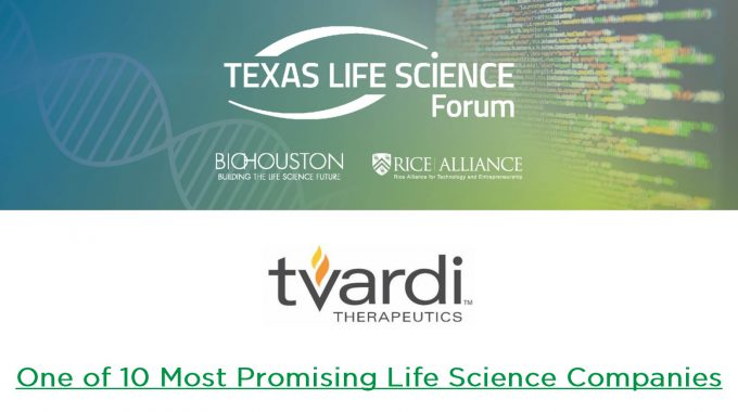 "Tvardi Therapeutics Awarded ""Most Promising"" Company at the 2020 Texas Life Science Forum"